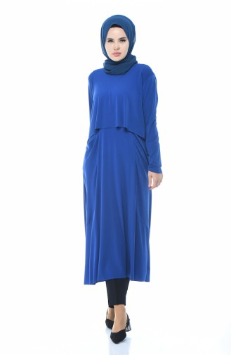 Tunique Longue avec Poches 4551-02 Bleu Roi 4551-02