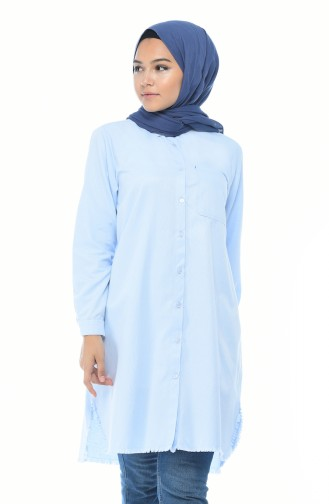 Tunique avec Poches Oxford 6283-01 Bleu Bébé 6283-01