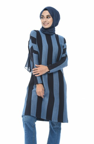 Navy long striped sweater 7927-01
