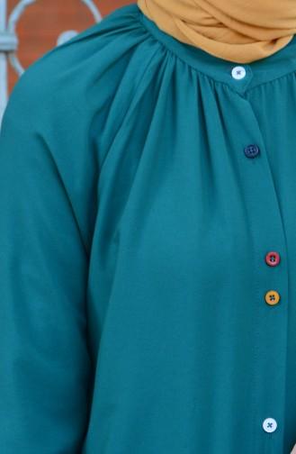 Viskon Uzun Düğmeli Tunik 8120-12 Zümrüt Yeşil