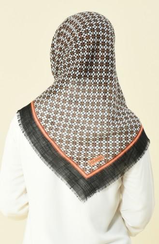 Desenli Flamlı Pamuksu Eşarp 2367-05 Siyah Turuncu