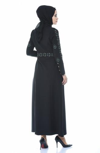 Abaya Brodée 9110-01 Noir 9110-01