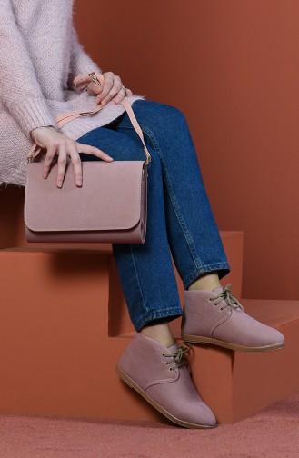 Wildleder Stiefel-Tasche Set SET-CNT-BOT054 Pink Wildleder 054