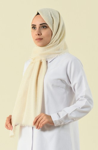 Cream patterned cotton shawl 901535-07