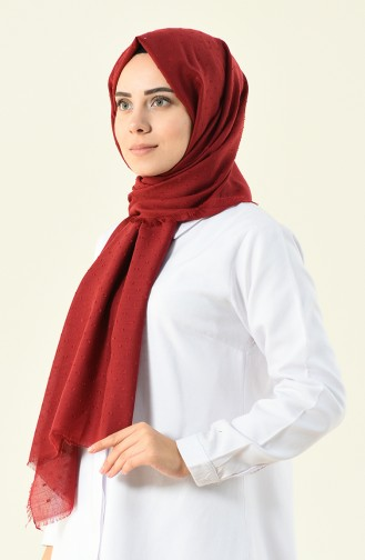 claret red patterned cotton shawl 901535-09