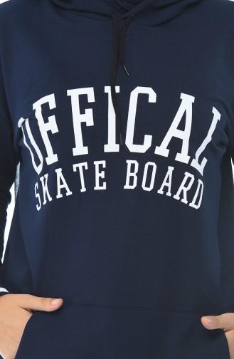 Sweatshirt a Capuche 2198-06 Bleu Marine 2198-06