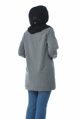 Yazılı Sweatshirt 19079-01 Füme