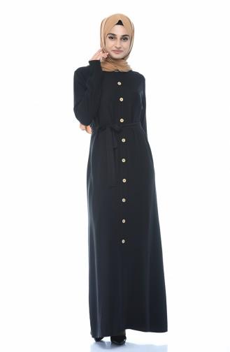 Boydan Düğmeli Yazlık Elbise 6010A-02 Siyah
