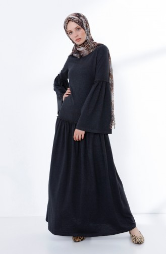 Skirt And Sleeve Pleated Dress Anthracite 5038-07