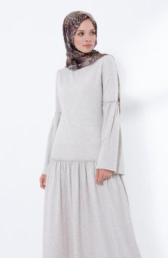 فستان بأكمام وتنورة مطوية بيج 5038-11
