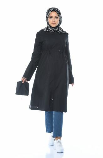معطف واق من المطر أسود 6662-01