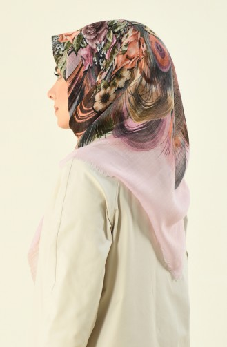 Patterned Cotton Scarf with Flam Pawder 2366-03