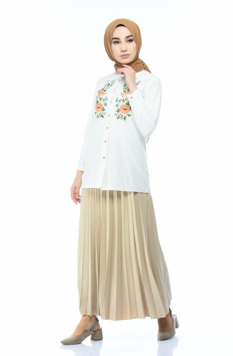 Embroidered Shirt Cream 1013-11