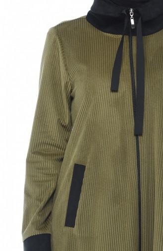 معطف مخمل كاكي أخضر 0092-05