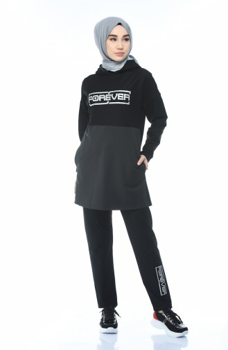 Hooded Tracksuit Black Anthracite 9089-01