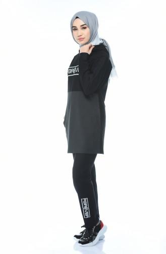 Kapüşonlu Eşofman Takım 9089-01 Siyah Antrasit 9089-01