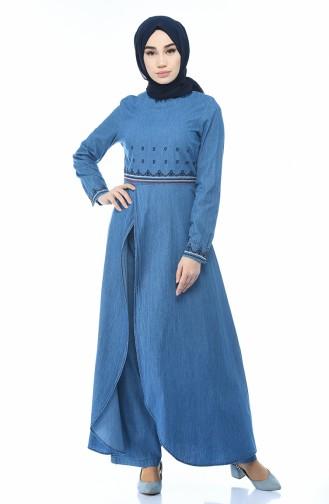 Kot Tunik Pantolon İkili Takım 9587-01 Kot Mavi