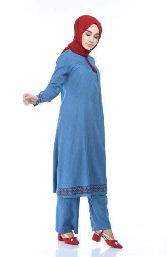 Nakışlı Tunik Pantolon İkili Takım 9588-02 Kot Mavi