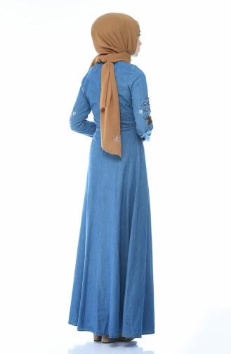 İncili Kot Elbise 9070-02 Kot Mavi