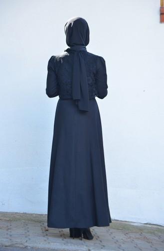 Dantel Detaylı Elbise 9032-01 Siyah