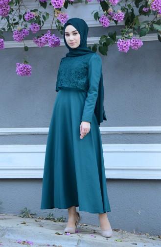 فستان أخضر زمردي 9032-03