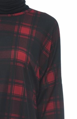 Ekose Desenli Tunik 1080-02 Kırmızı