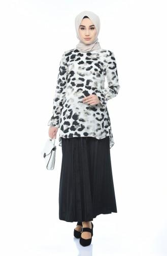 Leopard Patterned Tunilk Black 40010-01