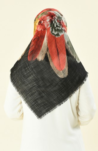 Patterned Cottony Scarf Black Red 2369-01