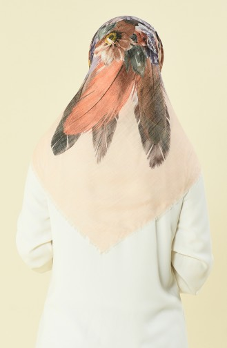 Patterned Cotton Scarf Salmon Color 2369-13