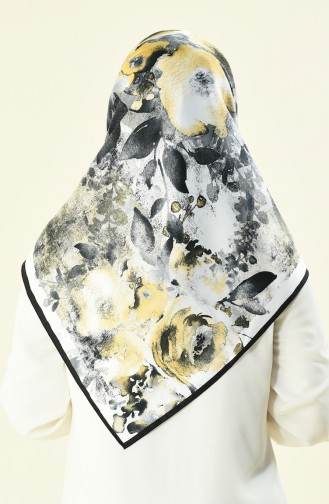 Karaca Patterned Rayon Scarf Black White 90591-10