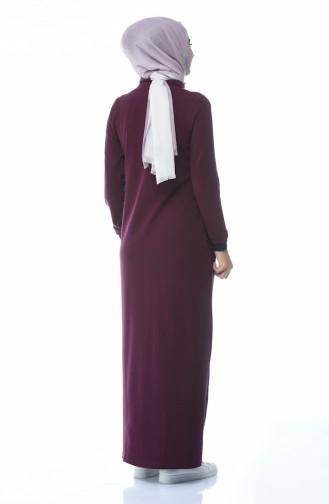 Zippered Sports Dress Burgundy color 9098-01