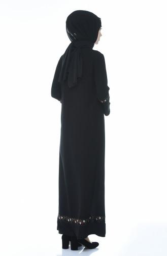 Nakışlı Ferace 0007-01 Siyah
