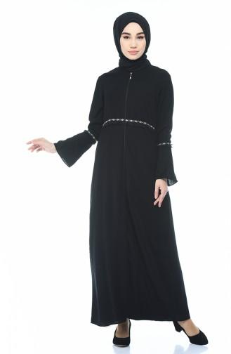 Abaya Brodée 0008-01 Noir 0008-01