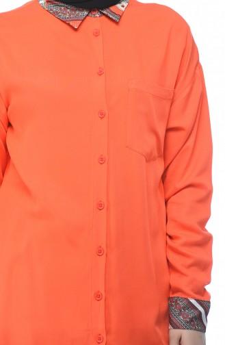 Yaka Ve Kol Detaylı Gömlek 0003-01 Mercan