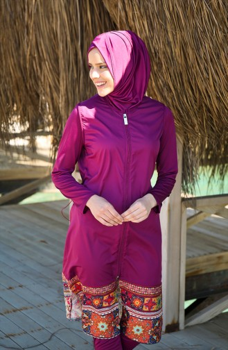 Maillot de Bain Hijab a Fermeture 1982-01 Plum 1982-01