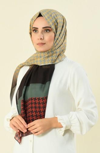 شال قطني منقوش كاكي 95298-04