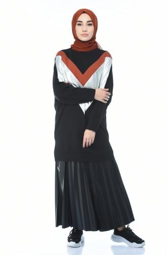 V Desenli Sweatshirt 19091-06 Siyah
