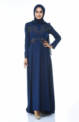 Navy Blue İslamitische Avondjurk 9516-02