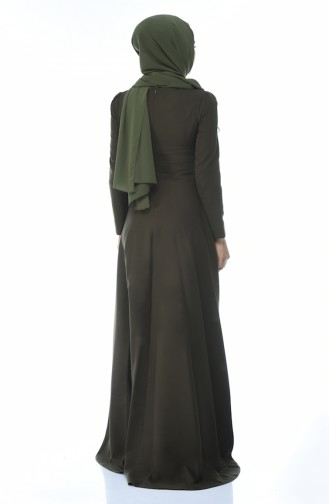 Khaki Islamic Clothing Evening Dress 9516-03