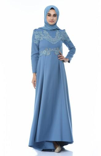 Eisblau Hijab-Abendkleider 9516-04