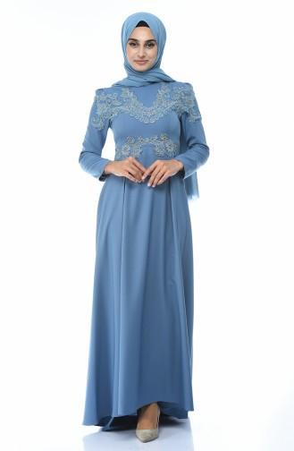 Ice Blue Islamic Clothing Evening Dress 9516-04