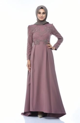 Dusty Rose Islamic Clothing Evening Dress 9516-05