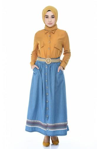 Bestickter Jeans-Rock 7004-02 Jeans Blau 7004-02