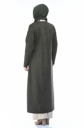 معطف فوقي كاكي 0273-04
