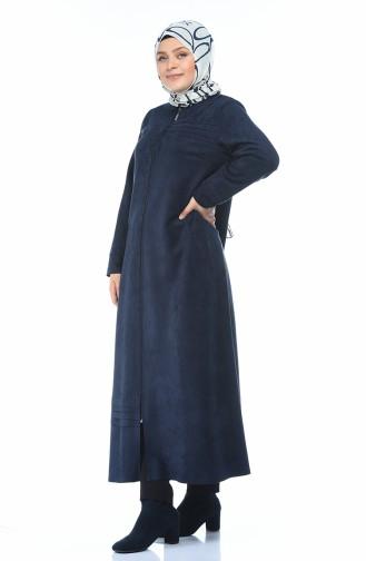 Grosse Grösse Wildleder Hijab-Mantel  0385-03 Dunkelblau 0385-03