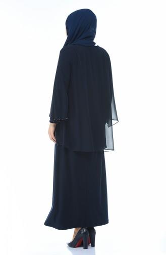 فساتين سهرة بتصميم اسلامي أزرق كحلي 3147-05