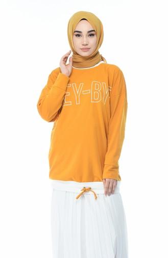 Baskılı Sweatshirt 0732-04 Hardal