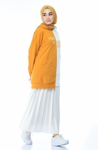 Baskılı Sweatshirt 0734-03 Hardal