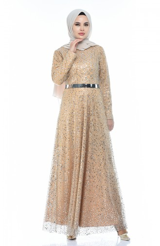 Mustard İslamitische Avondjurk 3805-05