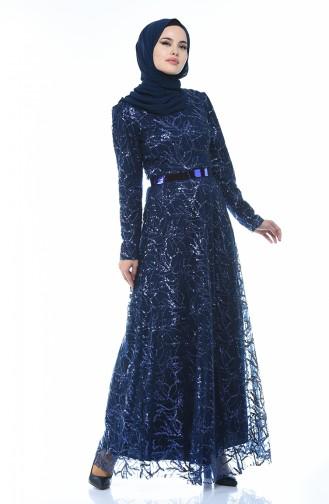 Robe de Soirée à Ceinture et Paillettes 3806-03 Bleu Marine 3806-03